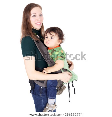 pretty young mother with her son - stock photo