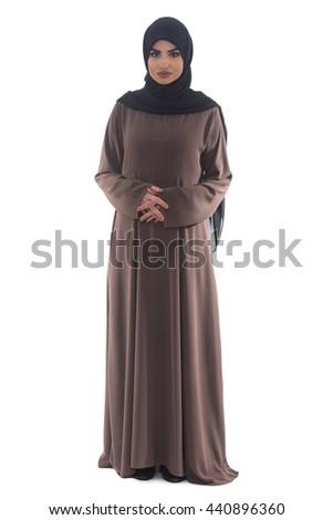 Pretty Young Muslim Woman Full Length Studio Portrait On White - stock photo