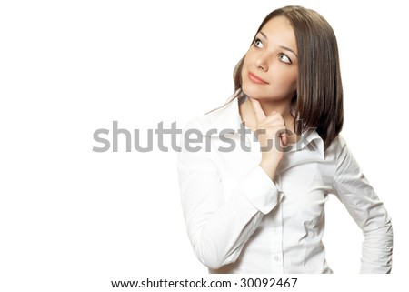 Pretty young office woman with finger on chin
