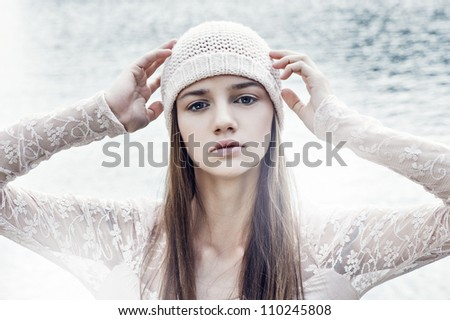 pretty young sexy woman near water - stock photo