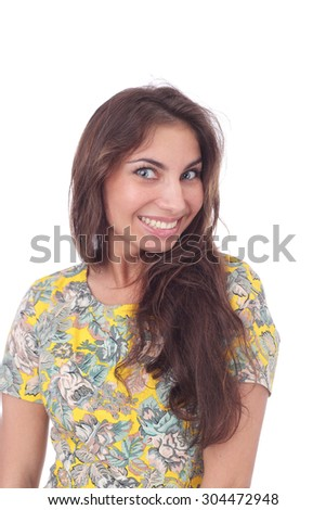 pretty young smiling girl closeup - stock photo