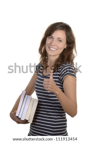 pretty young student with books, studio shot, isolated