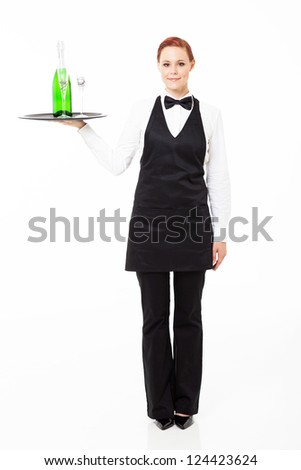 pretty young waitress holding a tray with champagne and glasses - stock photo