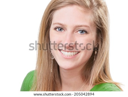 Pretty young woman closeup headshot portrait  - stock photo