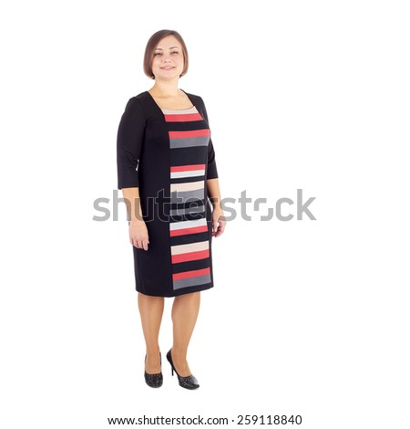 pretty young woman demonstrating a dress - stock photo