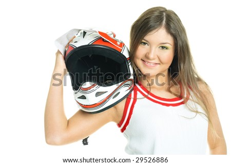 pretty young woman holding a motorcycle helmet, isolated against white background - stock photo
