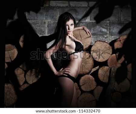 Pretty young woman in a black swimsuit standing elegant. Background of firewood - stock photo