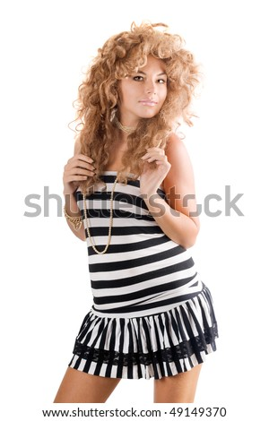 Pretty young woman in a wig. Isolated
