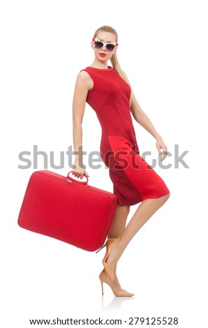Pretty young woman in red dress isolated on white - stock photo