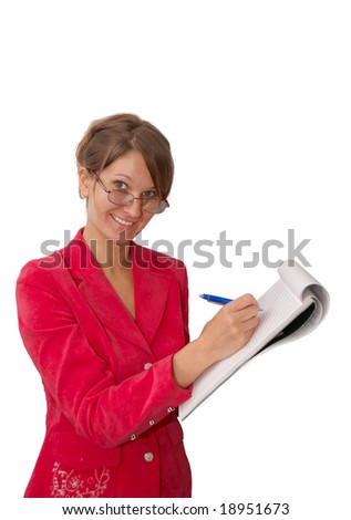 Pretty young woman in red with note - stock photo