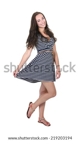 pretty young woman in summer dress - stock photo