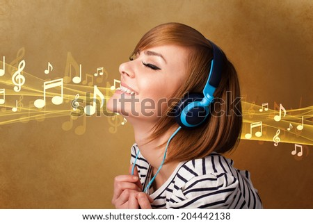 Pretty young woman listening to music, notes concept - stock photo