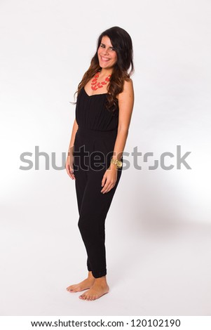 Pretty young woman on a  white background. - stock photo