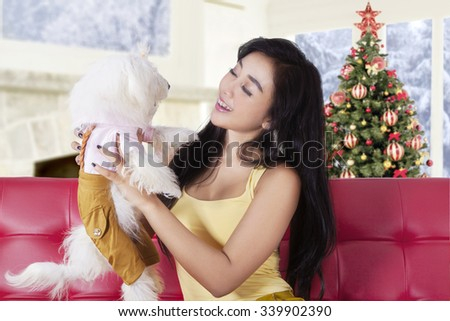 Pretty young woman playing with her puppy while sitting on the sofa with a christmas tree background on the back - stock photo