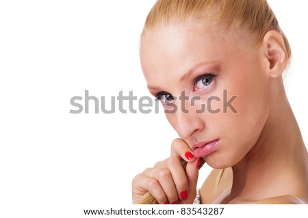 pretty young woman posing sad