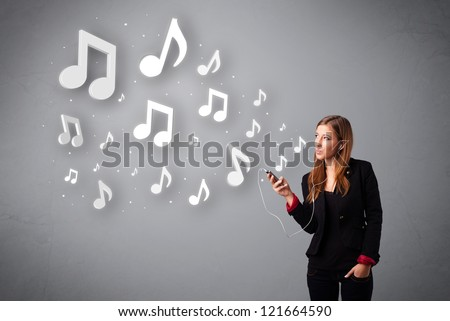 Pretty young woman singing and listening to music with musical notes getting out of her mouth - stock photo