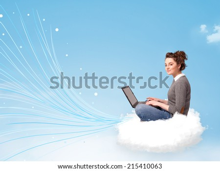Pretty young woman sitting in cloud with laptop, lines concept