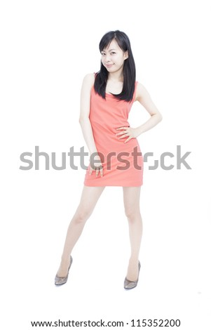 pretty young woman smiling, isolated on white background