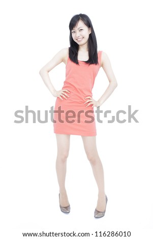 pretty young woman smiling, isolated on white background - stock photo