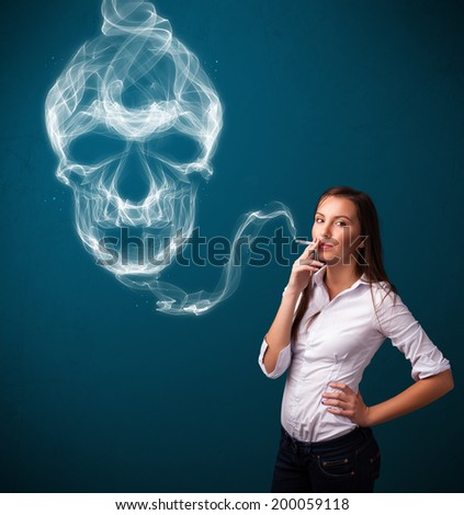 Pretty young woman smoking dangerous cigarette with toxic skull smoke  - stock photo