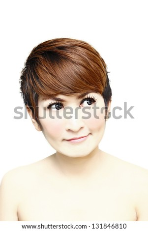 Pretty Young woman thinking and looking up - stock photo