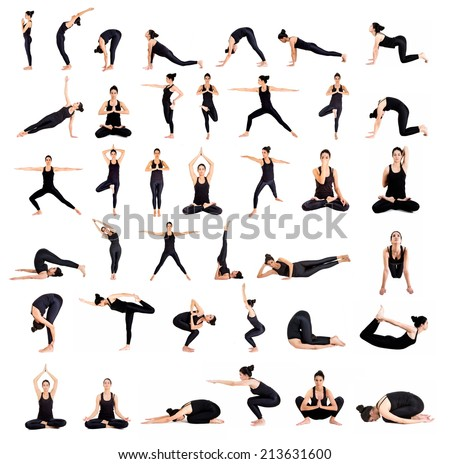 Pretty young woman training yoga - stock photo