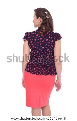 pretty young woman wearing a beautiful costume, back view - stock photo