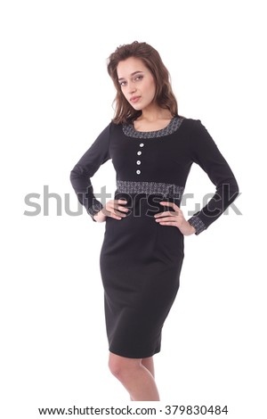pretty young woman wearing black dress - stock photo