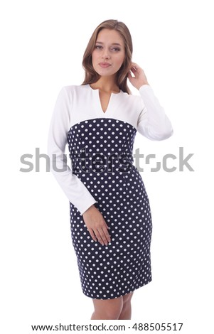 pretty young woman wearing combined polka dot dress