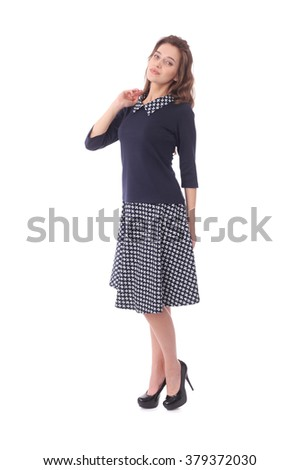 pretty young woman wearing composite dress - stock photo