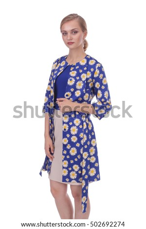 pretty young woman wearing floral printed summer coat