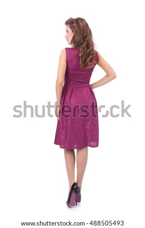 pretty young woman wearing pink dress