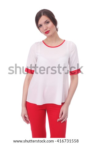 pretty young woman wearing summer white and red blouse and red pants - stock photo