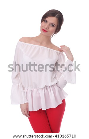 pretty young woman wearing summer white top and red pants - stock photo