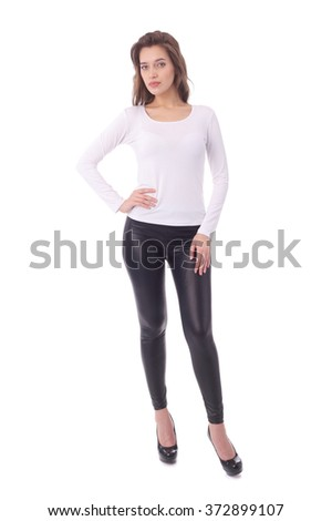 pretty young woman wearing white top and black pants