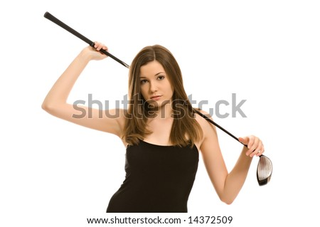 Pretty young woman with a golf club isolated on white background
