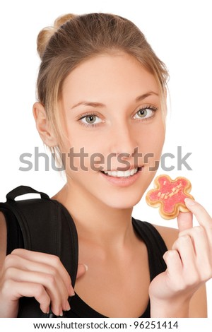 pretty young woman with cake isolated on the white background - stock photo