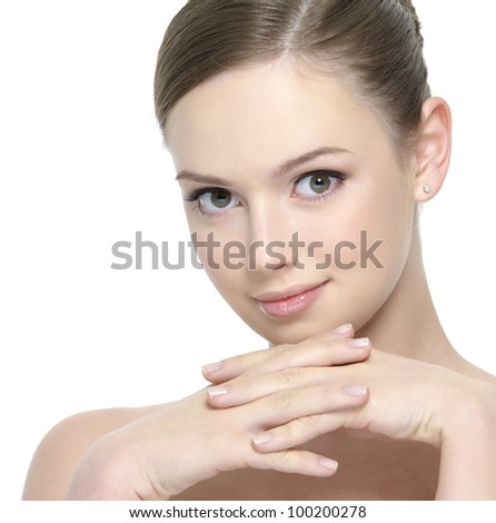 Pretty young woman with clean beautiful face - white background - stock photo