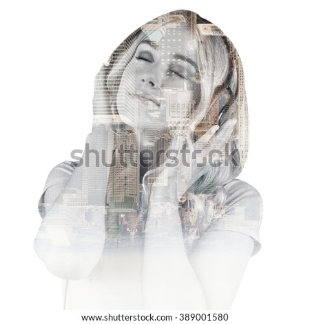 Pretty young woman with headphones against new york - stock photo