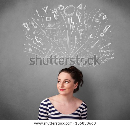 Pretty young woman with many sketched arrows pointed in different directions above her head - stock photo