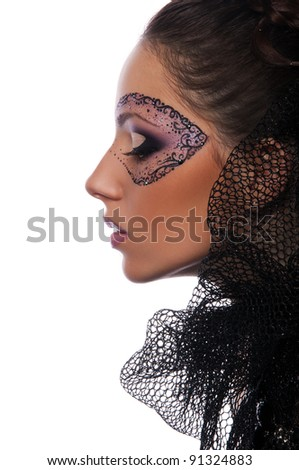 pretty young woman with mask on face on white background
