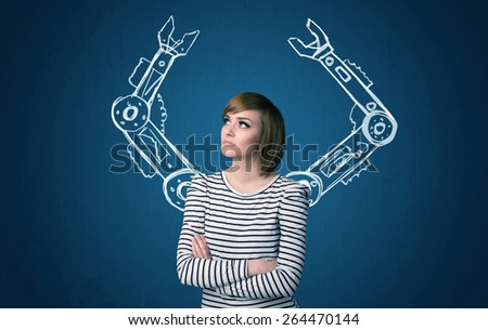 Pretty young woman with robotic arms concept - stock photo