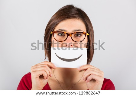Pretty Young Woman with Smiley Emoticon