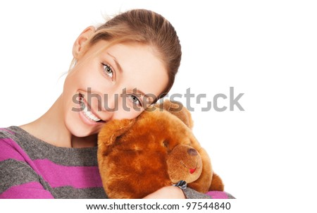 pretty young woman with teddy bear isolated on the white background - stock photo