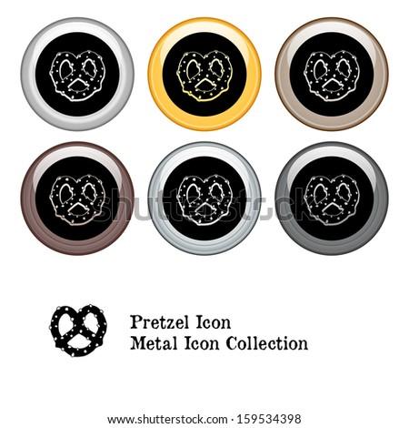 Pretzel Icon Metal Icon Set.  Raster version. - stock photo