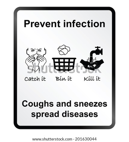 Prevent infection public health information sign isolated on white background - stock photo
