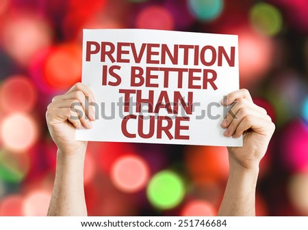 Prevention is Better than Cure card with colorful background with defocused lights - stock photo