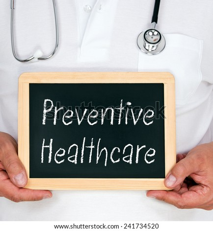 Preventive Healthcare - Physician with chalkboard - stock photo