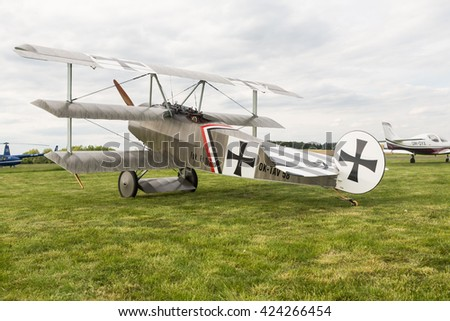 Pribram, CZE - MAY 21, 2016: Triplane Fokker F.I. - replica triplane on the ground in Pribram airport, Czech Republic.