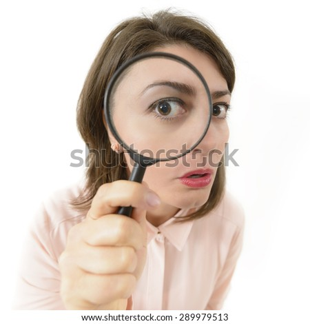 Price Cut Hunting, woman looking through an eyeglass
